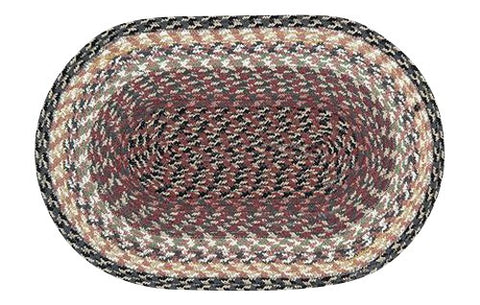 Burgundy/Gray/Cream Braided Cotton Blend Oval Placemat 40-057