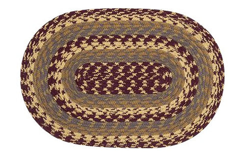 Burgundy/Gray/Mustard Braided Cotton Blend Oval Placemat 40-341