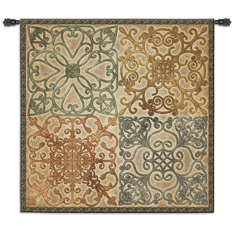 Wrought Iron Elegance Art Tapestry Wall Hanging in 2 Sizes