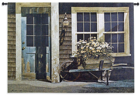 Weathered Cottage Front Art Tapestry Wall Hanging