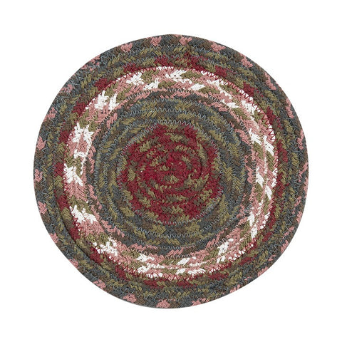 Burgundy/Gray Round Braided Cotton Blend Trivet 2-Piece Set 41-040