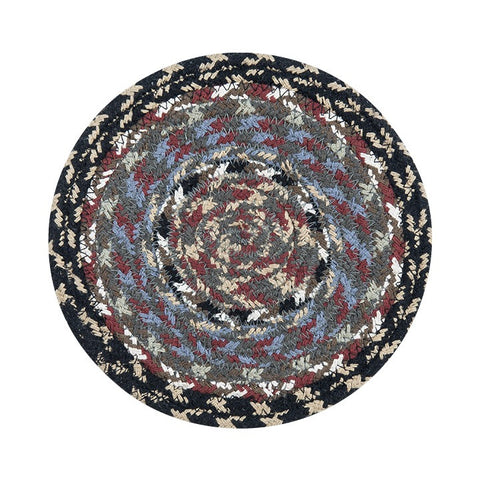 Burgundy/Blue/Gray Round Braided Cotton Blend Trivet 2-Piece Set 41-043