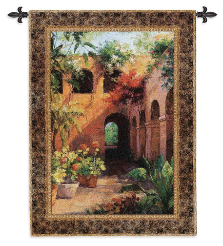 Adobe Courtyard Art Tapestry Wall Hanging