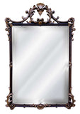English Scrolled Leaf Wall Mirror Antique Reproduction, Espresso Color Finish