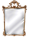 English Scrolled Leaf Wall Mirror Antique Reproduction, Gold Leaf Color Finish