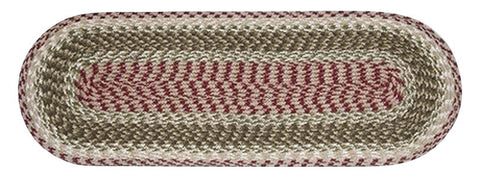 "Olive/Burgundy/Gray Oval Braided Cotton Blend 13""x36"" Table Runner 43-024"
