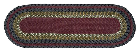 "Burgundy/Olive/Charcoal Oval Braided Cotton Blend 13""x36"" Table Runner 43-238"