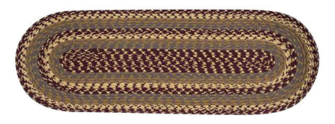 "Burgundy/Gray/Mustard Oval Braided Cotton Blend 13""x36"" Table Runner 43-341"