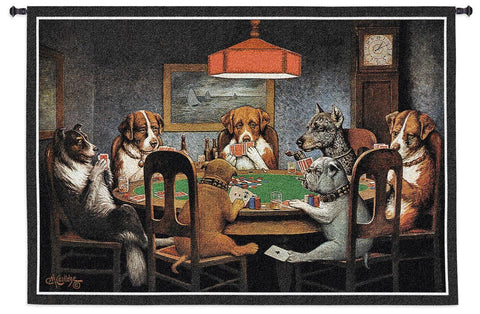 Card Playing Dogs Art Tapestry Wall Hanging