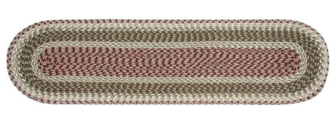 "Olive/Burgundy/Gray Oval Braided Cotton Blend 13""x48"" Table Runner 44-024"
