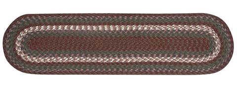 "Burgundy/Gray Oval Braided Cotton Blend 13""x48"" Table Runner 44-040"