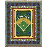 Baseball Theme Art Tapestry Throw