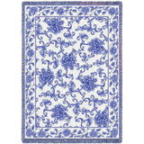 Oriental Blue Art Tapestry Throw