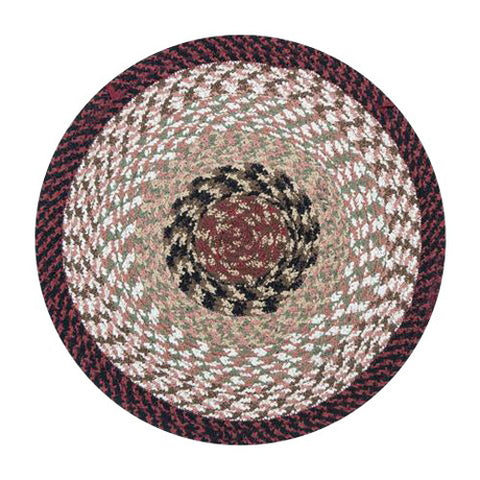 Burgundy/Mustard Braided Cotton Blend Round Chair Pad 45-019