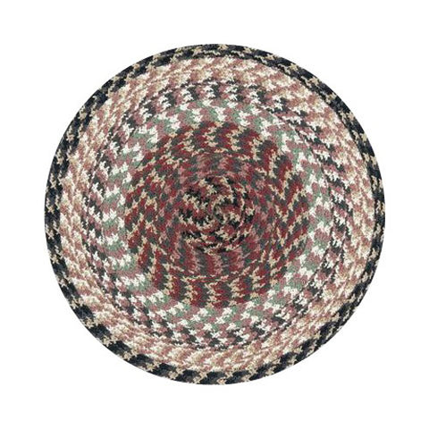 Burgundy/Gray/Cream Braided Cotton Blend Round Chair Pad 45-057