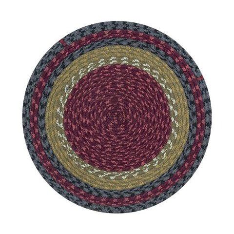 Burgundy/Olive/Charcoal Braided Cotton Blend Round Chair Pad 45-238