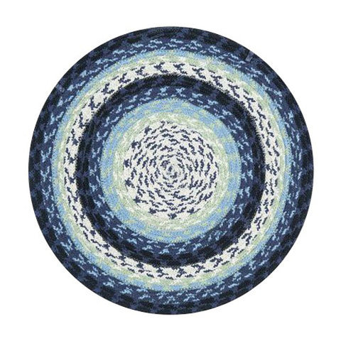 Blueberry/Cream Braided Cotton Blend Round Chair Pad 45-312