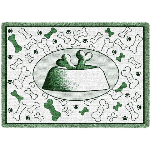 Bones and Dog Bowl Art Tapestry Mini Throw in Hunter Green