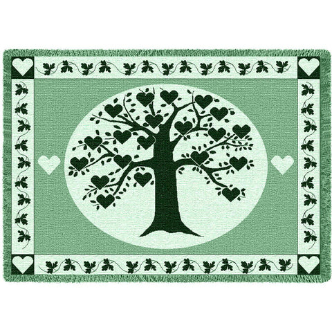 Family Tree with Hearts Art Tapestry Throw, Hunter Green/Seafoam