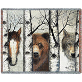 Horse, Bear and Wolf Trio Art Tapestry Throw