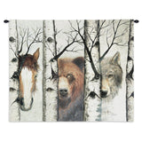 Horse, Bear and Wolf Trio Art Tapestry Wall Hanging