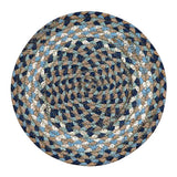 "Blue/Natural 10"" Round Braided Jute Trivet 46-005"