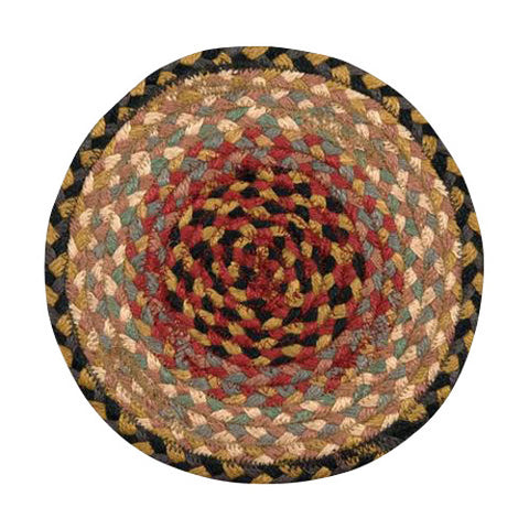 "Burgundy/Tan/Multi 10"" Round Braided Jute Trivet 46-057"