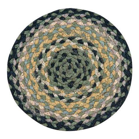 "Black/Mustard/Green 10"" Round Braided Jute Trivet 46-116"