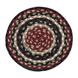 "Burgundy/Black/Tan 10"" Round Braided Jute Trivet 46-344"