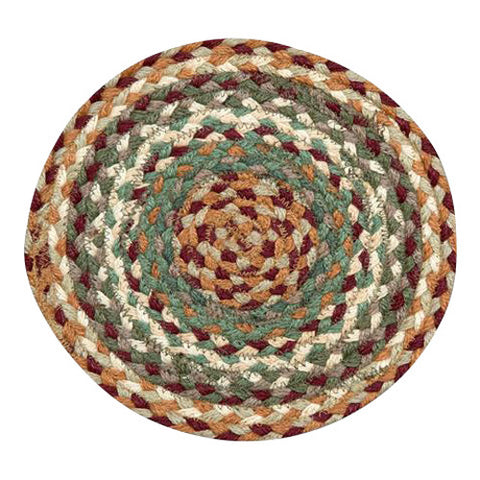 "Buttermilk/Cranberry 10"" Round Braided Jute Trivet 46-413"