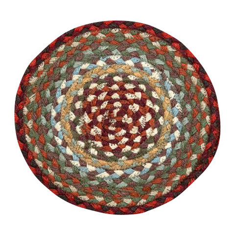 "Thistle Green/Country Red 10"" Round Braided Jute Trivet 46-417"