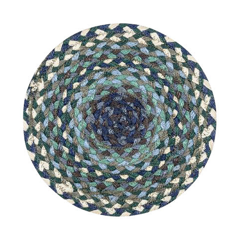 "Blueberries and Cream 10"" Round Braided Jute Trivet 46-503"