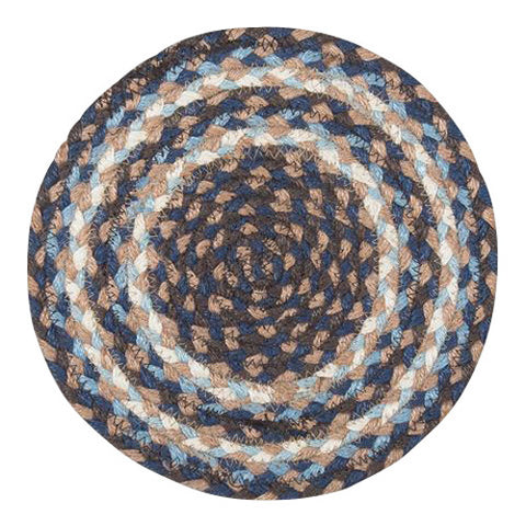 "Blue/Brown/Taupe 10"" Round Braided Jute Trivet 46-743"