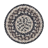 "Black and Tan 10"" Round Braided Jute Trivet 46-9-093"