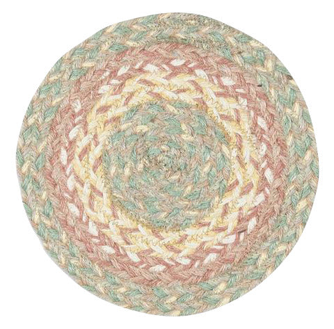 "Rose Gold 10"" Round Braided Jute Trivet 46-9-112"