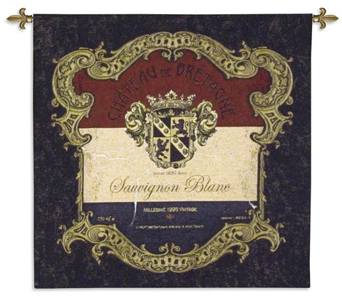 Chateau de Bretagne Vintage Label Art Tapestry Wall Hanging