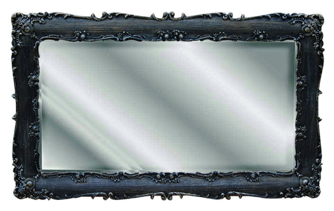 Acanthus Leaf and Petite Floral Blossoms Rectangle Wall Mirror, Black Gold Silver Color Finish