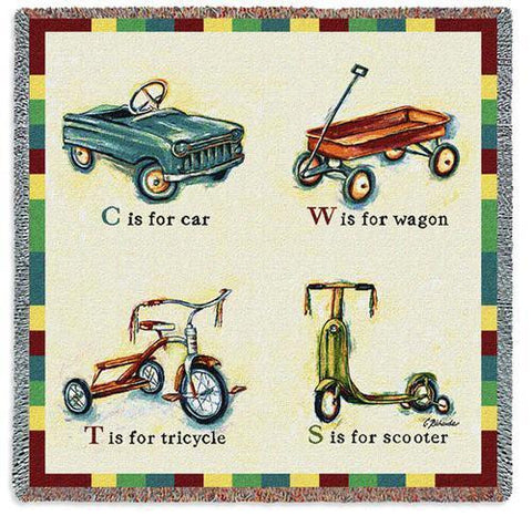 Children's Transportation Art Tapestry Lap Throw