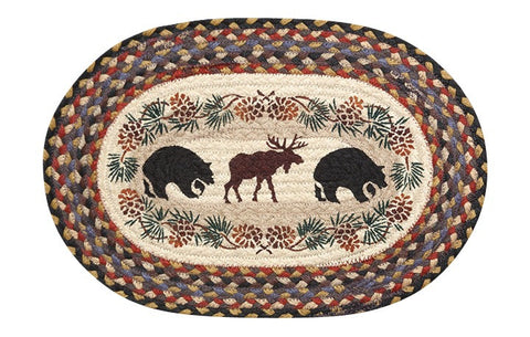 Bears and Moose Oval Braided Jute Placemat 48-043BM