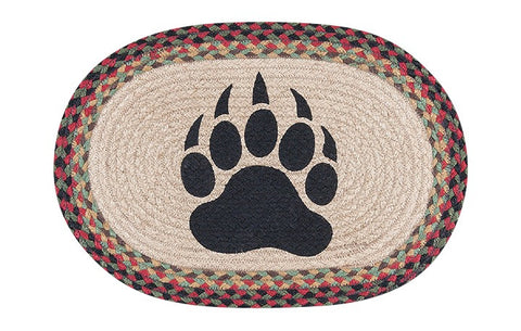Bear Paw Print Oval Braided Jute Placemat 48-081BP