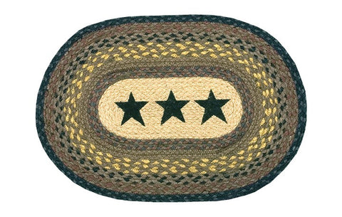 Black Stars II Oval Braided Jute Placemat 48-099S