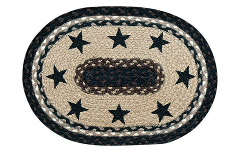 Black Stars Oval Braided Jute Placemat 48-313BS