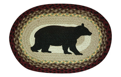 Cabin Bear Oval Braided Jute Placemat 48-395CB