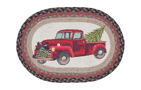 Christmas Truck Oval Braided Jute Placemat 48-530CT