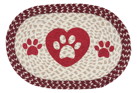 Heart and Dog Paws Oval Braided Jute Placemat 48-9-117HP