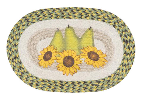 Pears and Sunflowers Oval Braided Jute Placemat 48-9-120PS