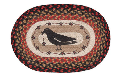 Crow and Stars Oval Braided Jute Placemat 48-919CS