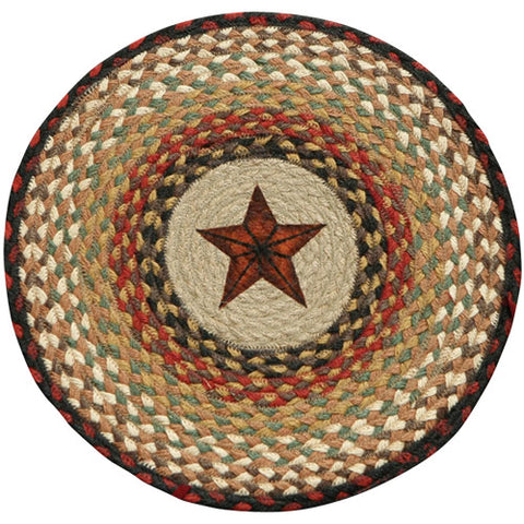 "Barn Star 15.5"" Round Braided Jute Chair Pad 49-CH019BS"
