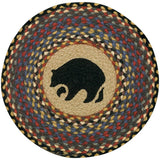 "Black Bear 15.5"" Round Braided Jute Chair Pad 49-CH043BB"