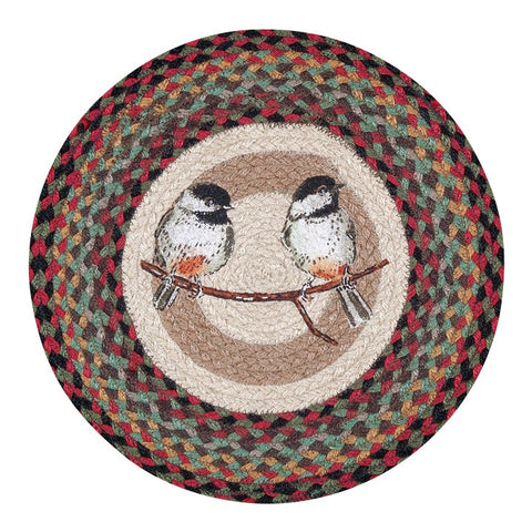"Chickadee Birds 15.5"" Round Braided Jute Chair Pad 49-CH081C"